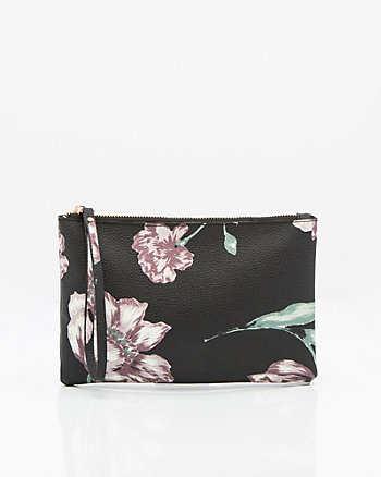 Floral Print Leather-Like Pouch