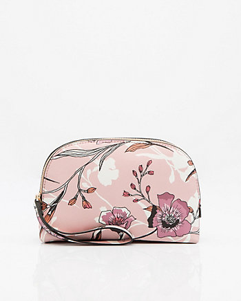 Floral Saffiano Leather-Like Cosmetics Pouch