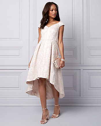 Jacquard Cold Shoulder High-Low Dress