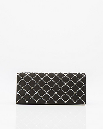 Jewel Embellished Satin Flapover Clutch