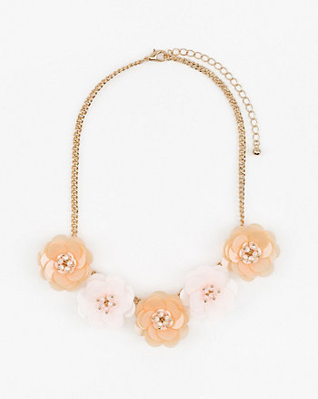 Floral Sequin Collarbone Necklace
