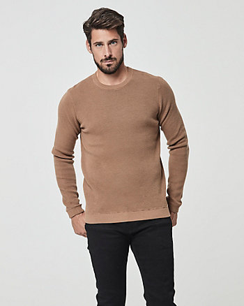 Textured Cotton Crew Neck Sweater