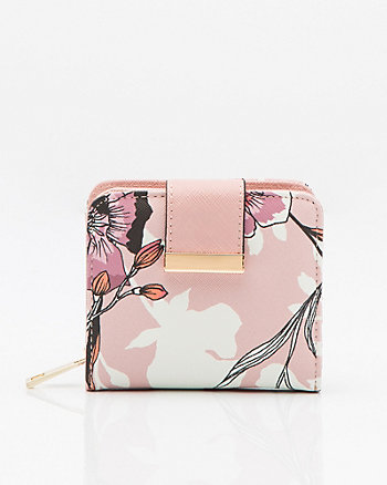 Floral Saffiano Faux Leather Snap Wallet