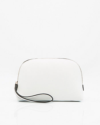Saffiano Leather-Like Cosmetics Pouch
