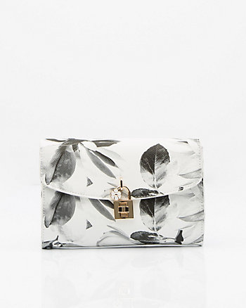 Floral Print Saffiano Leather-Like Clutch