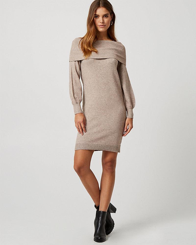 7d0d58bd37ed2f Off-The-Shoulder Sweater Dress