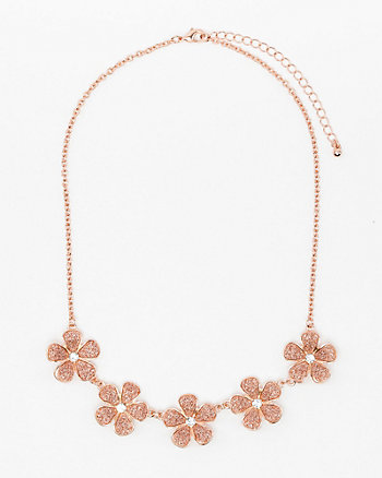 Glitter Floral Collarbone Necklace