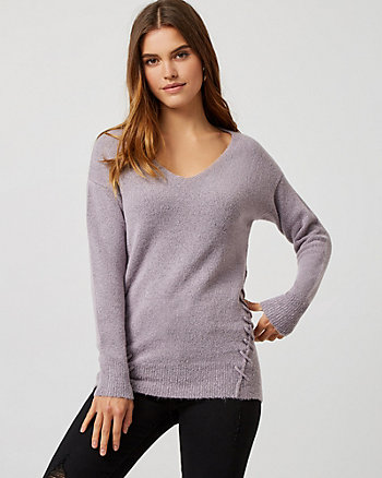 Bouclé Lace-Up Tunic Sweater