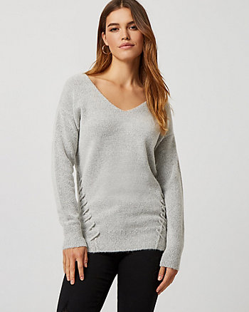 Bouclé Lace-Up Tunic Sweater