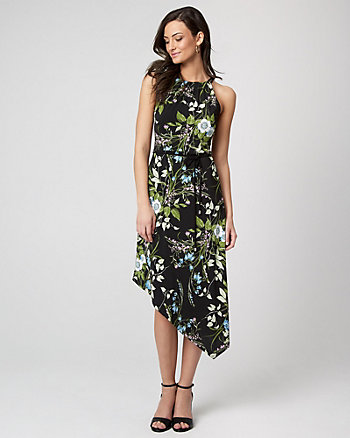 Floral Print Knit Asymmetrical Midi Dress
