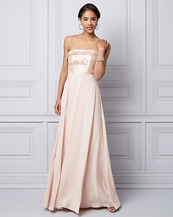 Metallic Jacquard & Chiffon Strapless Gown