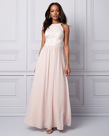 Jacquard & Chiffon Halter Gown