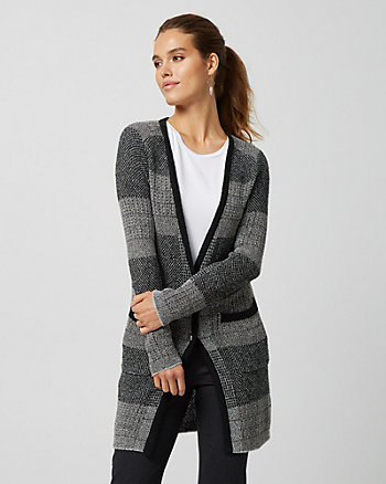 Textured Knit Button-front Cardigan