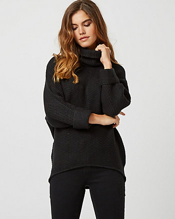 Rib Knit Cowl Neck Sweater