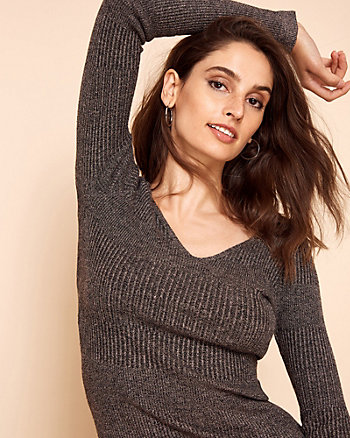 Rib Knit V-Neck Sweater