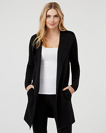 Cotton Blend Hooded Sweater Coat