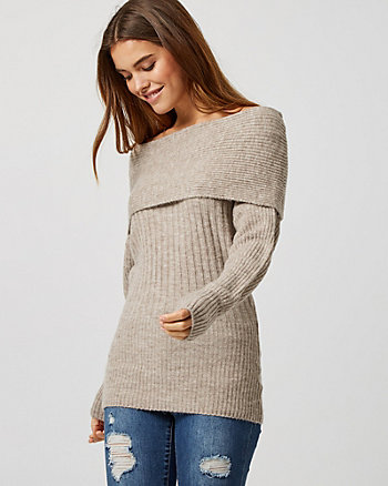 Knit Cowl Neck Tunic Sweater