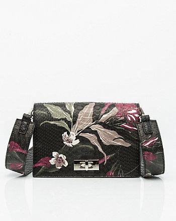 Snake Embossed Floral Print Crossbody Bag