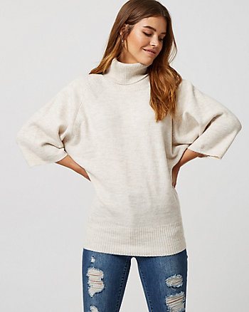 Rib Knit Cowl Neck Poncho Sweater