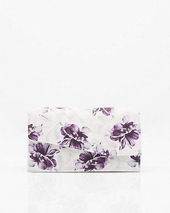 Floral Print Flapover Clutch
