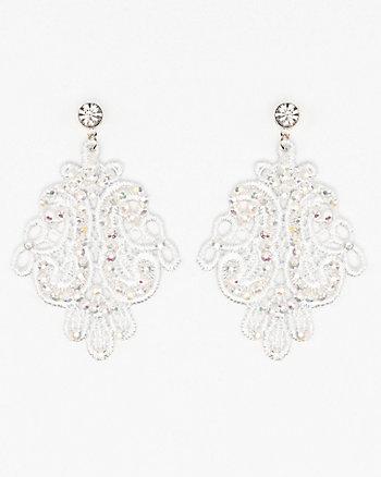 Jewel Embellished Lace Earrings