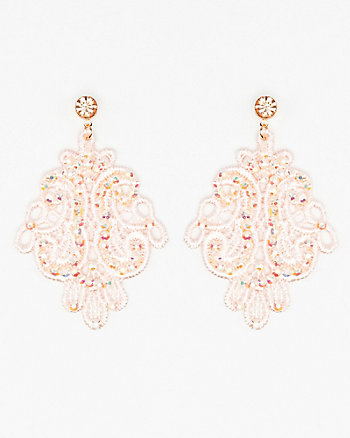 Jewel Embellished Lace Earrings