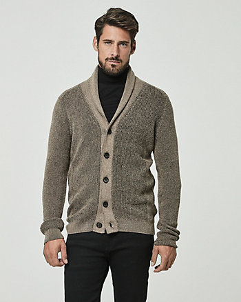 Tonal Cotton Shawl Collar Cardigan