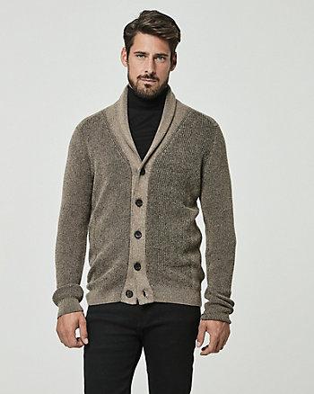 Cardigan à col châle et motif en coton