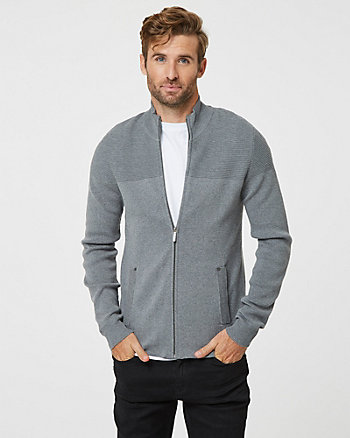 Cotton Blend Zip Cardigan
