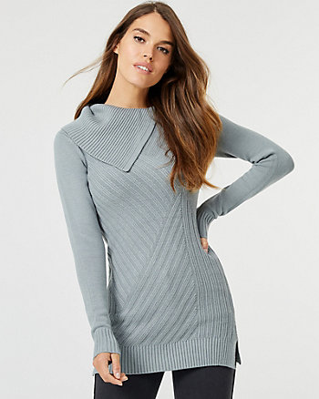 Knit Foldover Neck Tunic Sweater