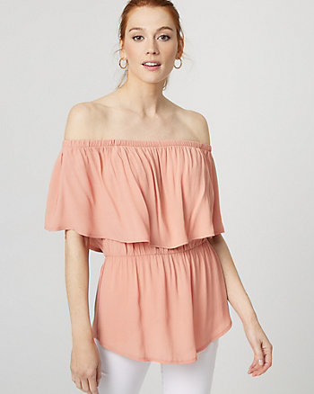 Crêpe Off-the-Shoulder Blouse
