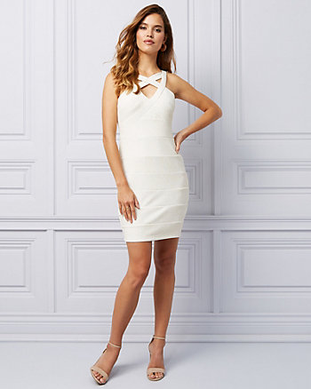 Sparkle Knit Illusion Cocktail Dress