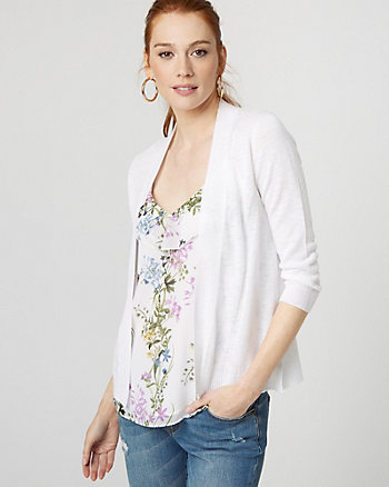 Ramie Blend Open-Front Cardigan