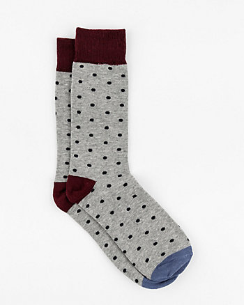 Dot Print Cotton Blend Socks