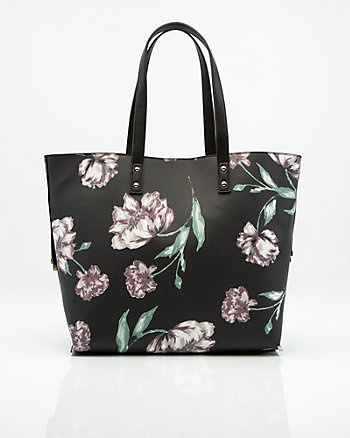 Floral Print Leather-Like Tote Bag