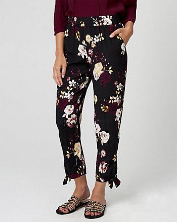 Floral Print Viscose Slim Leg Track Pant