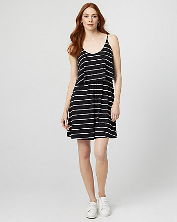 Stripe Jersey Knit Flowy Dress