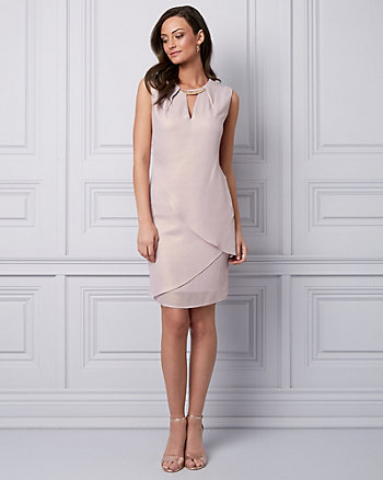 Foil Chiffon Cutout Cocktail Dress