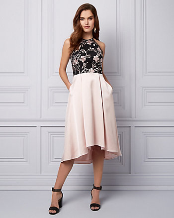 Lace & Satin High-Low Cocktail Dress