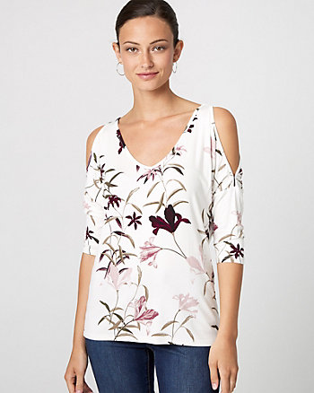 Floral Print Crochet Cold Shoulder Top