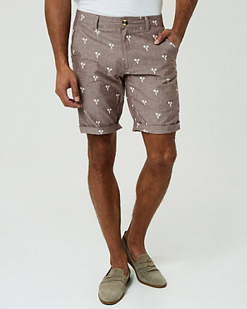 Palm Tree Print Cotton Shorts