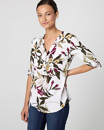 Tropical Print Viscose Henley Blouse