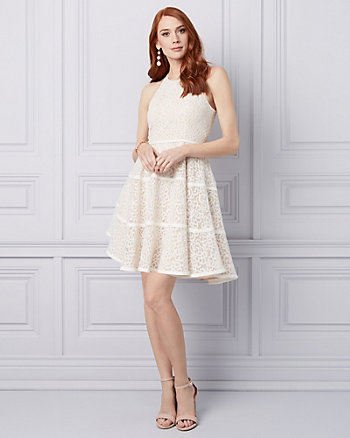 Laser Cut Knit Halter Cocktail Dress