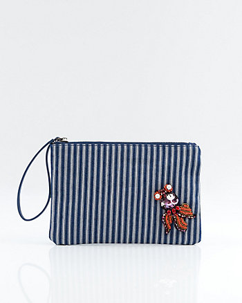 Stripe Beaded Octopus Cosmetic Pouch