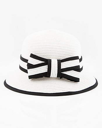 Two-Tone Woven Cloche Hat
