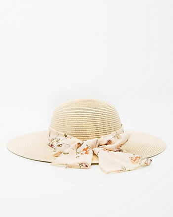 Floral-Band Floppy Wide Brim Hat