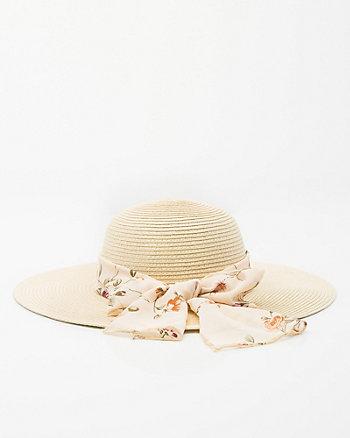 Floral-Band Floppy Wide Brim Hat