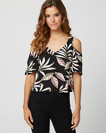 Tropical Print Cold Shoulder Crop Top