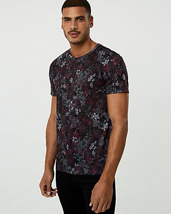 Floral Print Cotton Crew Neck Tee