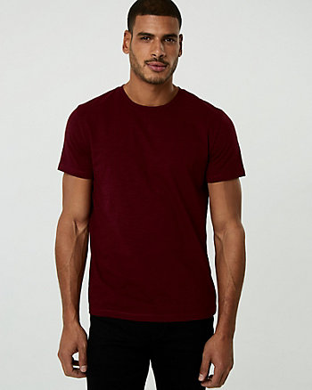 Micro Print Cotton Crew Neck Tee